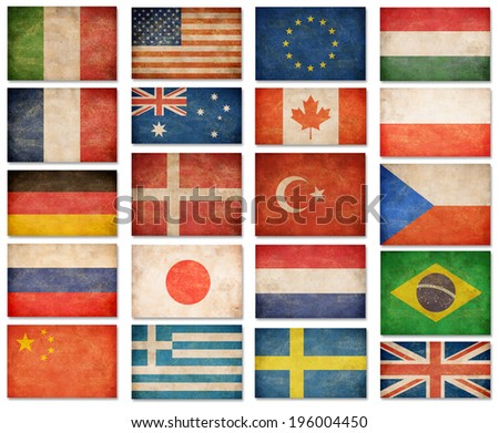 Grunge flags: USA, Great Britain, Italy, France, Denmark, Germany, Russia, Japan, Canada, Brazil, Turkey, Netherlands, Australia, Poland, Sweden, Greece, China and others - stock photo