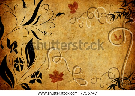 grunge floral background - stock photo