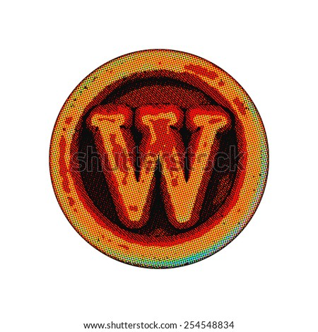 grunge font - letter W - stock photo