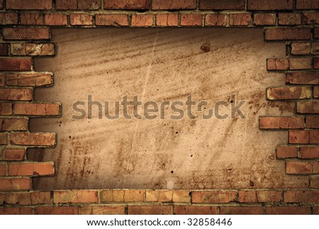 grunge frame from brick wall