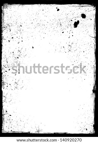 Grunge frame with black inky splashes. Space for acidic designs, text, picture, logo etc. - stock photo