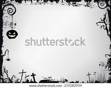 Grunge frame with textured background and various Halloween paraphernalia as: scary pumpkin, crosses, and scary tree branches in black and white.  Vector available. - stock photo
