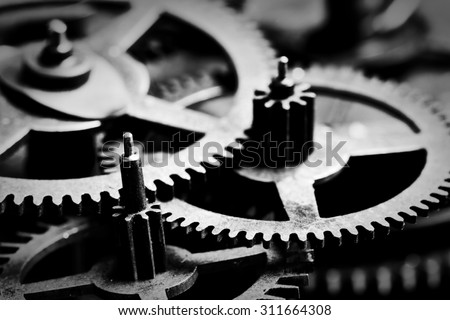 Grunge gear, cog wheels black and white background. Concept of industrial, science, clockwork, technology.  - stock photo