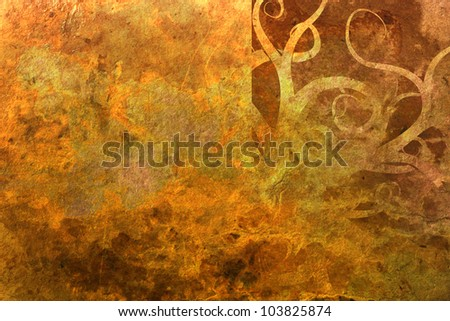 grunge gold floral background with space for text - stock photo
