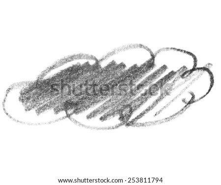 grunge graphite pencil, doodle cloud stylish texture isolated on white background - stock photo