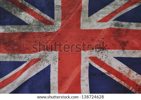 Grunge Great Britain Flag as an old vintage British symbol of patriotism and English culture on an antique textured material for the United Kingdom government.