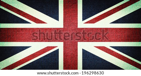 Grunge Great Britain flag. Detailed fabric texture. Close up - stock photo