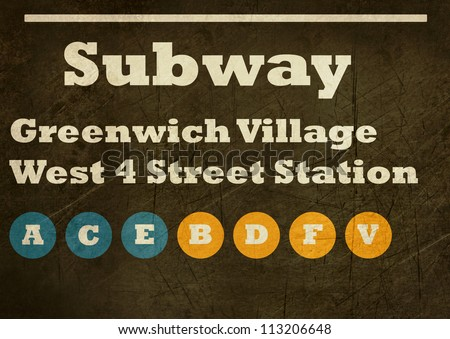 Grunge Greenwich Village West 4 street station subway sign isolated on white background, New York City, U.S.A. - stock photo
