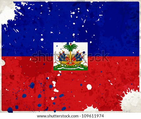 Grunge Haiti flag with stains - flag series