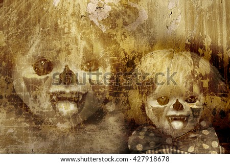 Grunge Halloween background with old stucco wall texture and spooky clown - stock photo