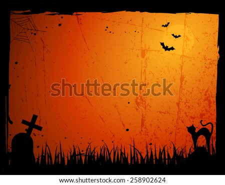 Grunge Halloween frame / background with a scary cat, tomb stone bats and a  spider web - stock photo