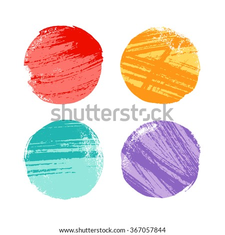 Grunge hand drawn colorful circles for design