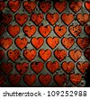 grunge hearts background with stains - stock photo