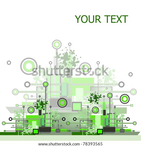 Grunge & hi-tech vector background. Raster version. - stock photo