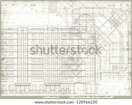 Grunge horizontal architectural background with elements of plan and facade drawings. Raster version of the vector image - stock photo