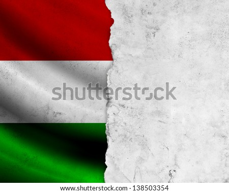 Grunge Hungary flag with paper frame - stock photo