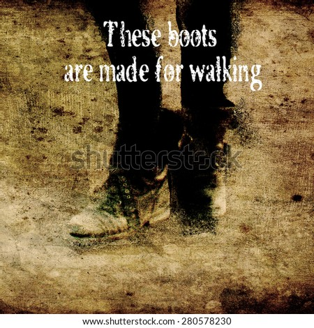 Grunge illustration black leather army boots - stock photo