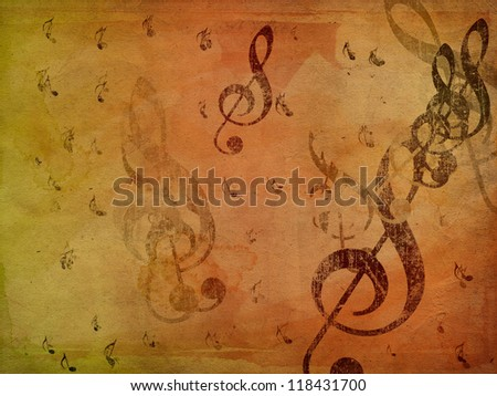 Grunge illustration of music notes on old paper background. - stock photo