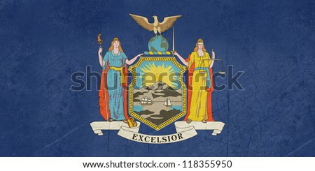 Grunge illustration of New York state flag, United States of America. - stock photo