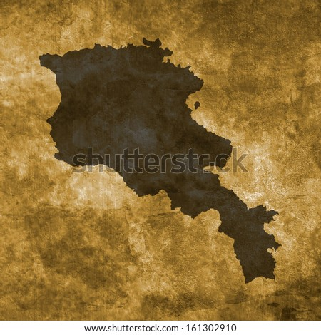 Grunge illustration with the map of Armenia - stock photo