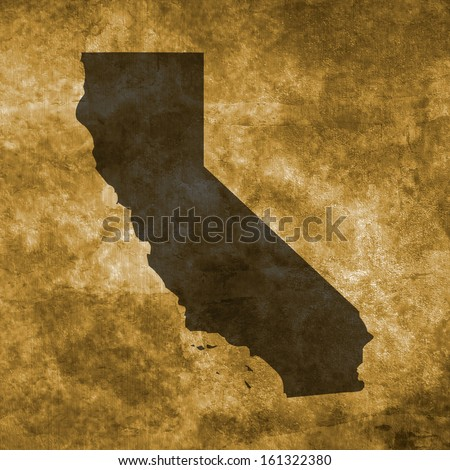 Grunge illustration with the map of California - stock photo