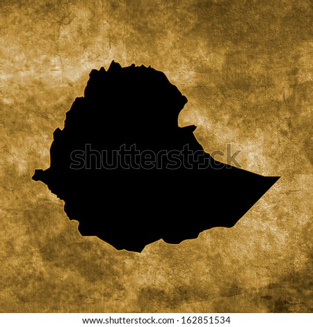 Grunge illustration with the map of Ethiopia - stock photo