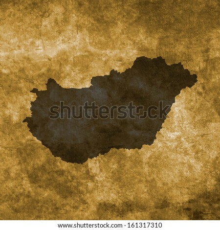 Grunge illustration with the map of Hungary - stock photo