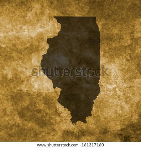 Grunge illustration with the map of Illinois - stock photo