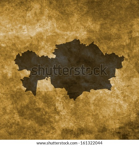 Grunge illustration with the map of Kazakhstan