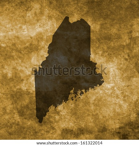 Grunge illustration with the map of Maine