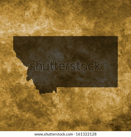 Grunge illustration with the map of Montana - stock photo