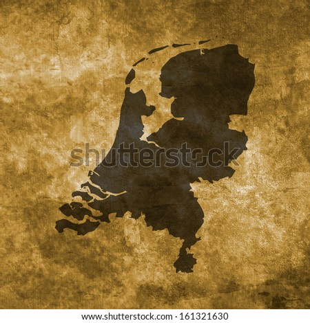 Grunge illustration with the map of Netherlands - stock photo