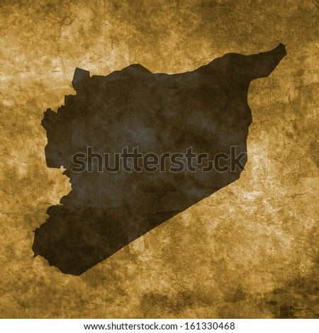 Grunge illustration with the map of Syria
