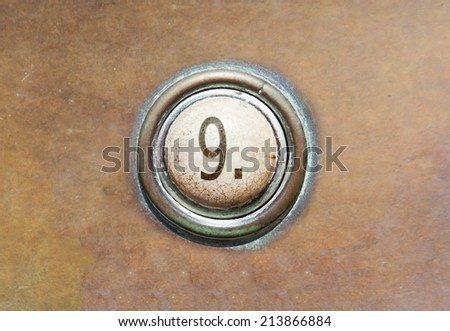Grunge image of a button from the control area - 9 - stock photo