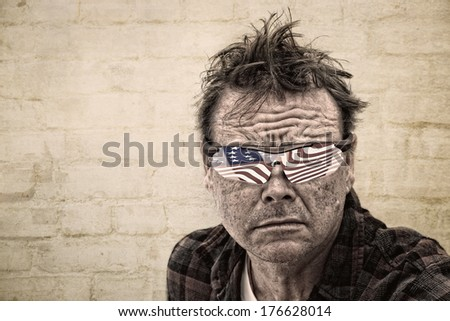 Grunge image of a Man with USA flag reflected in his Glasses - stock photo