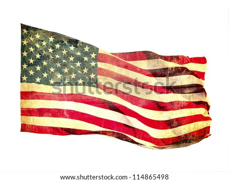 Grunge image of american flag - stock photo