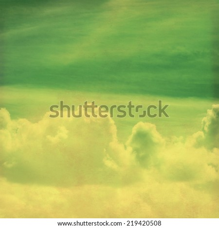 Grunge image of blue sky with clouds. - stock photo