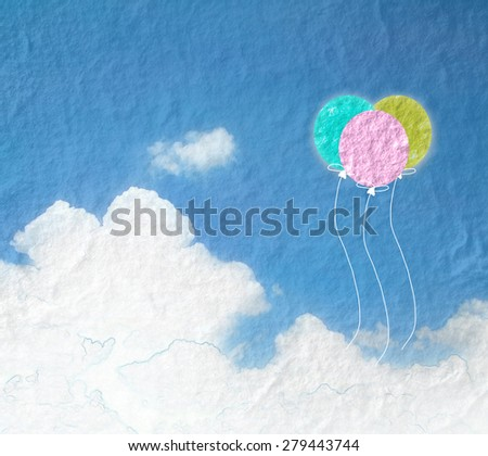 Grunge image of blue sky with clouds and colorful balloon.Color balloons banner background.  - stock photo