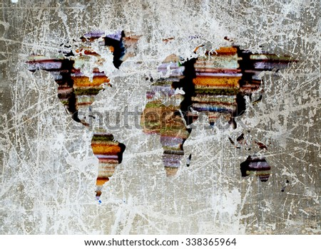 grunge image of blur stacking book in shape of world map - stock photo