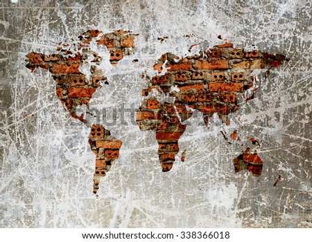 grunge image of brick wall in shape of world map - stock photo