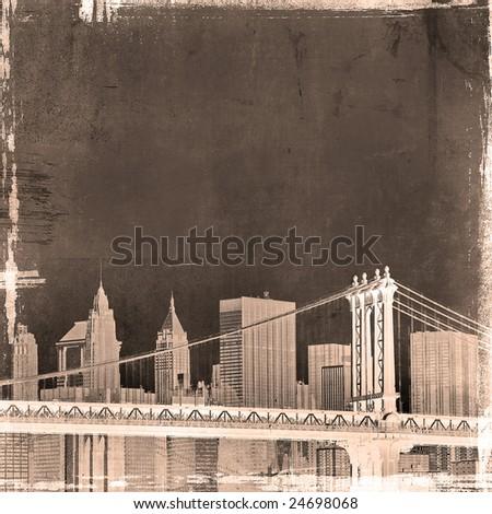 grunge image of brooklyn bridge and new york skyline - stock photo