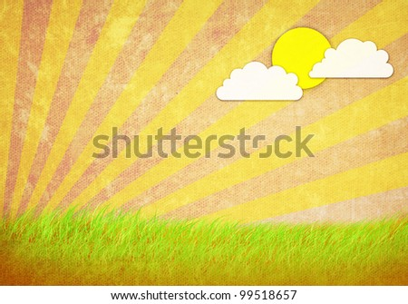 grunge image of green field and sun and sky