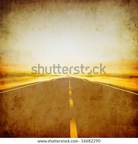grunge image of highway and blue sky - stock photo