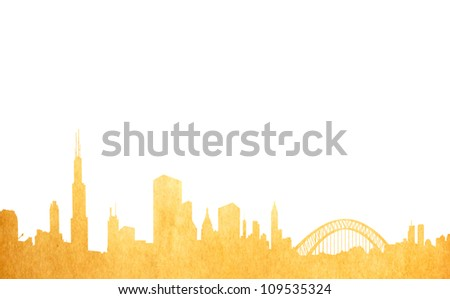 Grunge image of isolated cityscape from old paper - stock photo