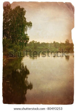 grunge image of lake in the greenwood - stock photo