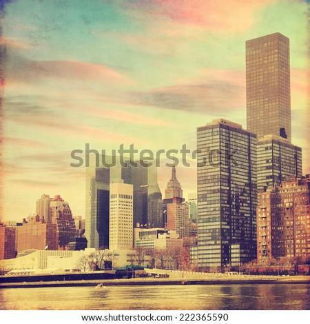 Grunge image of lower Manhattan in New York. - stock photo