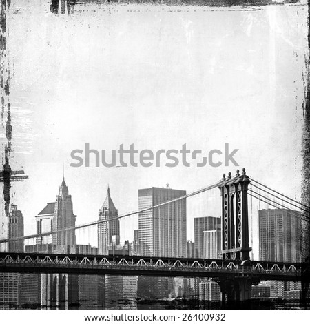 grunge image of manhattan and new york skyline - stock photo