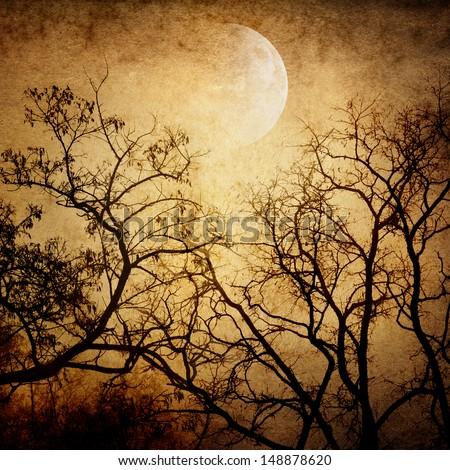 grunge image of moon landscape - stock photo