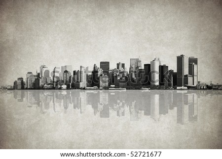 grunge image of new york skyline - stock photo