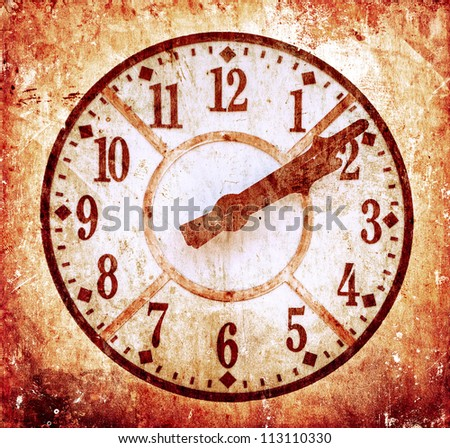 Grunge image of old anitique clock - stock photo